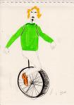 프랑스 빠리의 주말 오후 외발 자전거 타는 금발머리 소년