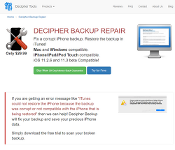 애플 아이튠즈 아이패드 아이폰 백업 복원 오류 해결 방법 - 디시퍼 백업 리페어 Decipher backup repair