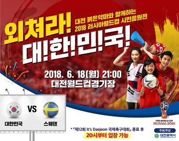 2018 러시아월드컵 대한민국vs스웨덴 시민 응원전! 대전월드컵경기장에서