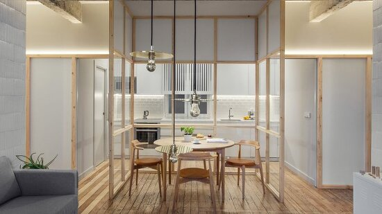 *스페인 아파트 리모델링 Concrete girders and glass partition walls carve up this broken-plan apartment in Bilbao