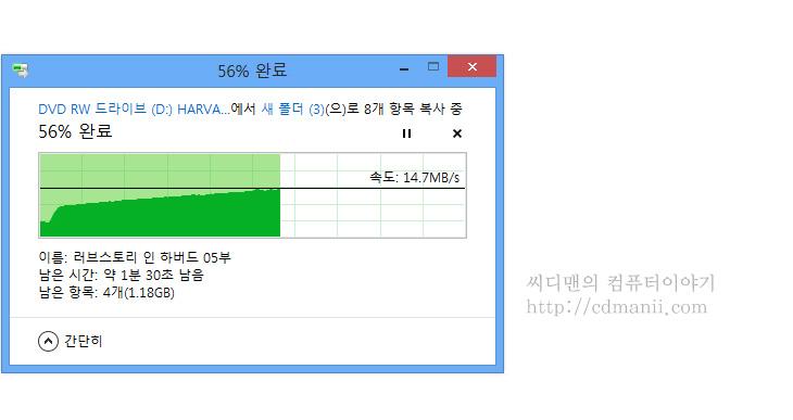 ODD 파일 복사 속도, 점점 빨라지는, ODD, DVD, CD, 윈도우8, Windows8, win8, IT, 테스트,ODD 파일 복사 속도 점점 빨라지는 이유에 대해서 확인해보려고 합니다. DVD에 있는 파일을 컴퓨터에 복사를 해보면 처음에는 느리다가 이상하게 시간이 언제지난건지 금방 파일 복사가 끝나있기도 한데요. ODD 파일 복사속도에 시간차이가 생기는 이유는 디스크가 회전하는 타입의 경우 대부분 이렇습니다. 가장자리 부분은 빠르고 안쪽 부분은 느리죠. 윈도우8은 파일 복사시 실제 전송속도를 그래프로 그려줄 수 있는데 이것을 통해서 속도의 차이를 살펴봤습니다.