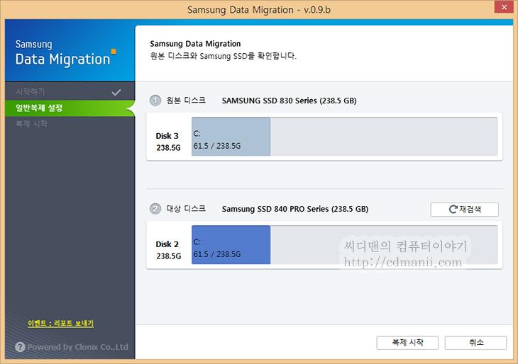 삼성 SSD 마이그레이션 도구, 삼성 SSD, 삼성 SSD 830 Series, 삼성 840 Pro Series, DataMigration 0.9c 다운로드, DataMigration 0.9c, 다운로드, IT, SSD, 하드디스크, HDD, Samsung, 속도, 벤치마크, 복제, 삼성 SSD 복제,삼성 SSD 마이그레이션 도구 DataMigration 0.9c 다운로드 후 삼성 SSD 830 시리즈의 데이터를 그대로 SSD 840 Pro로 옮겨보도록 하겠습니다. 복제 방법은 참 다양한데 삼성 SSD 마이그레이션 도구 DataMigration를 이용하면 그냥 클릭 클릭 하는것으로 복제가 가능 합니다. 물론 노턴 고스트나 트루이미지등을 이용하면 파티션 백업 및 좀 더 정밀한 작업이 가능하긴 하지만 보통은 하드디스크의 데이터를 그대로 SSD로 옮기는게 보통이므로 이방법을 쓰면 간편하게 옮길 수 있습니다.  복제는 말그대로 복제입니다. 그대로 옮겨가죠. 근데 디스크단위로 옮겨갑니다. 만약 하드디스크 용량이 SSD보다 더 크고 실제 데이터도 많다면 일단은 데이터를 좀 줄여야합니다. 하드디스크가 만약 파티션이 나뉘어져 있다면 나뉜 파티션도 비율로 그대로 옮겨가므로 일단 먼저 옮긴 뒤 나중에 파티션을 지우는 방법으로 해도 됩니다.  하드디스크 C/D 를 일단 SSD로 옮기면 하드디스크 C/D , SSD C/D 이렇게 동일하게 복제가 되겠죠. 그후에 SSD의 D를 삭제하고 하드디스크에서는 C를 지우면 SSD + HDD로 완벽하게 옮길 수 있을것입니다. 참고로 윈도우7 윈도우8은 데이터 손실 없이 파티션을 늘리고 줄일 수 있으니까요. 그렇게 옮기면 완벽하게 옮길 수 있습니다.  저는 하드디스크가 아니라 삼성 830 시리즈 256GB를 쓰고 있었는데 여기 데이터를 삼성 840 Pro 256GB로 그대로 옮겨보도록 하겠습니다. 참고로 이 툴은 삼성 SSD에서만 동작합니다. 일부러 이렇게 막아둔것이죠. 비슷한 것으로 인텔에서는 트루이미지 마이그레이션 도구를 공짜로 다운로드 후 쓸 수 있도록 해놓았는데 마찬가지로 인텔 SSD가 있어야만 동작합니다.