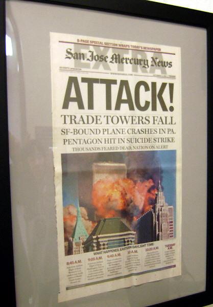 9.11 테러 소식을 다룬 산호세 머큐리 뉴스 San Jose Mercury News