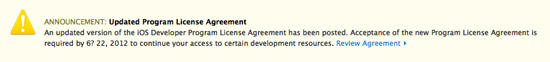 iOS 6 Updated Program License Agreement