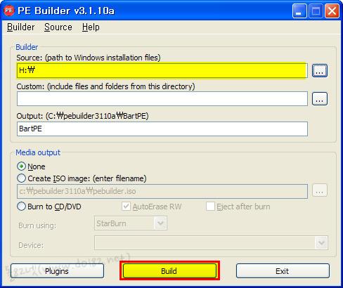 윈도우xp cd선택후, build