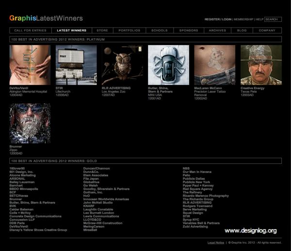 그래피스(Graphis) 2012 광고 100선 플래티넘 우승작 발표