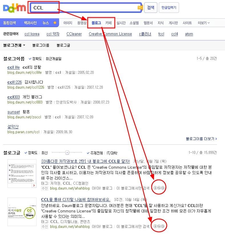 다음 검색, CCL 검색, CCL 라이센스, 블로그, 라이센스, 불펌, 스크랩
