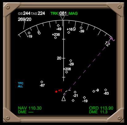 TCAS 시스템에 나타난 인근에 비행하는 항공기