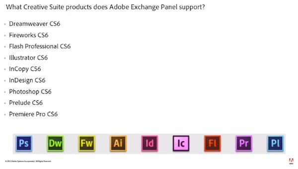어도비 익스체인지(Adobe Exchange) 패널 지원 애플리케이션