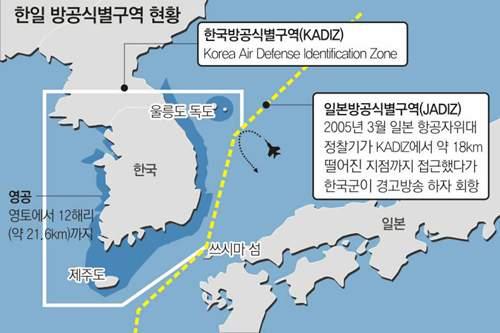 한국과 일본의 방공식별구역 현황
