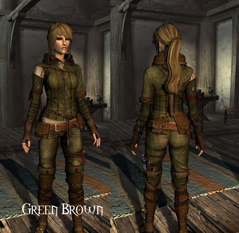 Skyrim Mod Triss Armor green brown