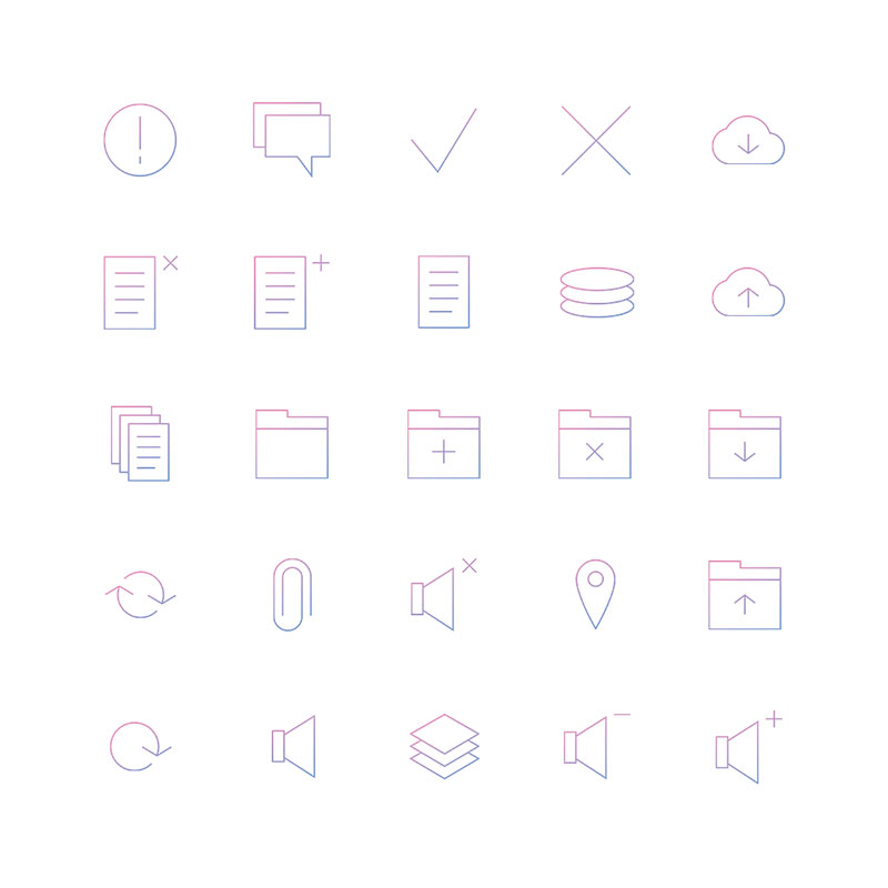 Minimal Gradient Outline Management Icons Pack
