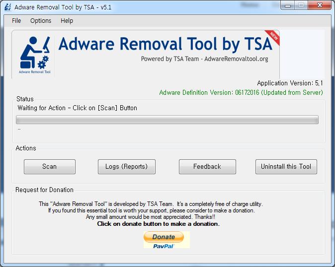 애드웨어 제거 Adware Removal Tool by TSA 5.1
