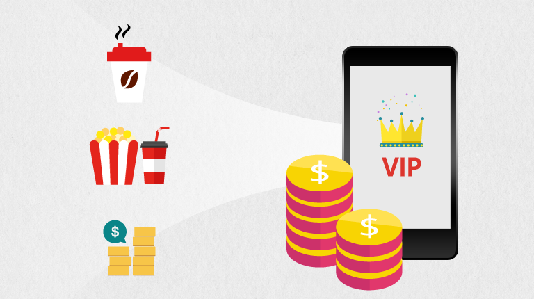 커피, 영화,보험 혜택을 제공하는 VIP팩 단순화 이미지