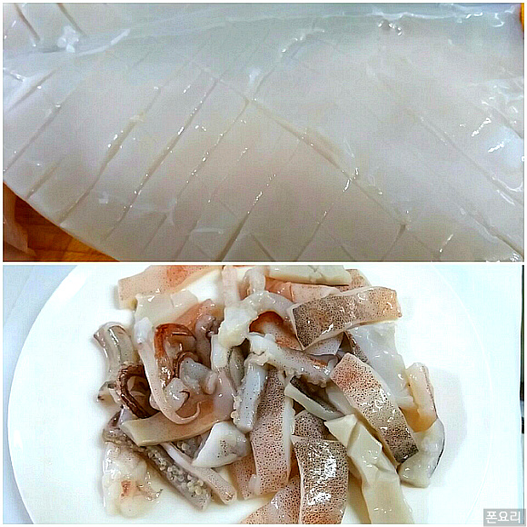 오징어 사선 칼집