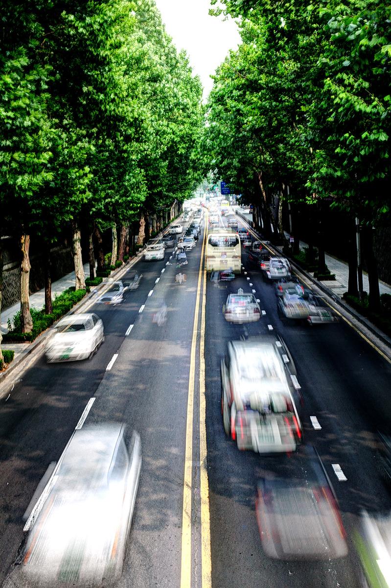 종묘와 창경궁을 이어주던 육교위에서 촬영된 사진-육교 밑으로는 차들이 씽~씽~ 달리고 있다.