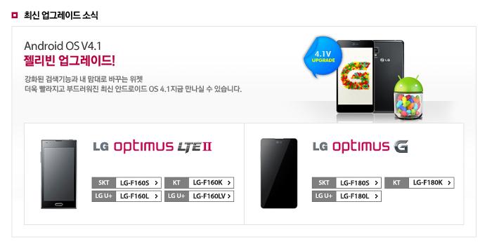 옵티머스 G, 옵티머스 LTE 2, 젤리빈 업데이트