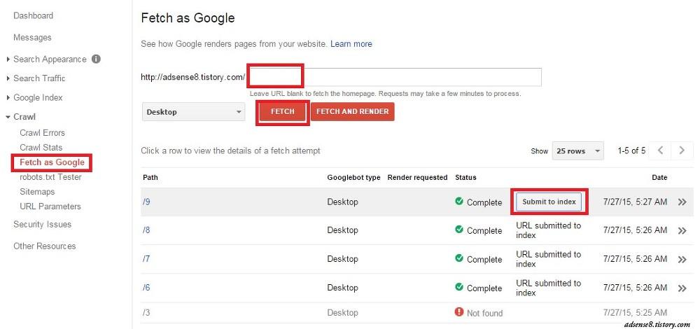 google fetch as google