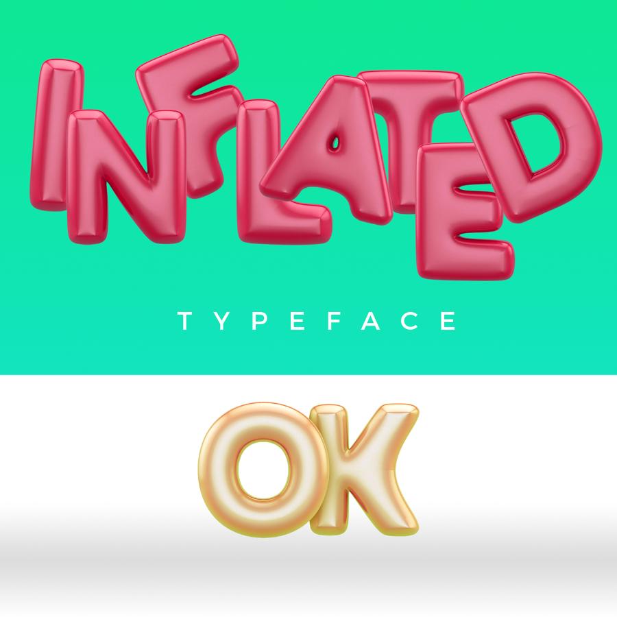 무료 영문 풍선체 Free 3D Balloon Typeface