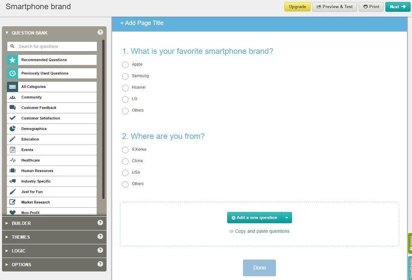 온라인 무쇼 설문 조사 서비스 SurveyMonkey