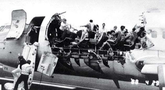 1988년 알로하항공 243편 사고 장면