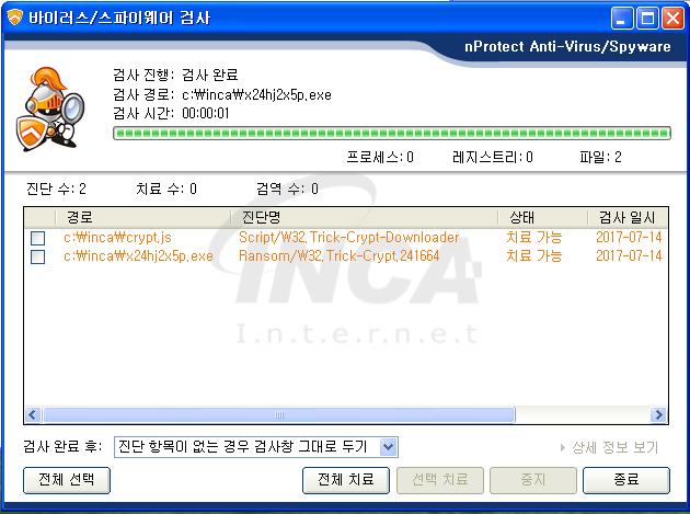 [그림 7] nProtect Anti-Virus/Spyware V3.0 진단 및 치료 화면