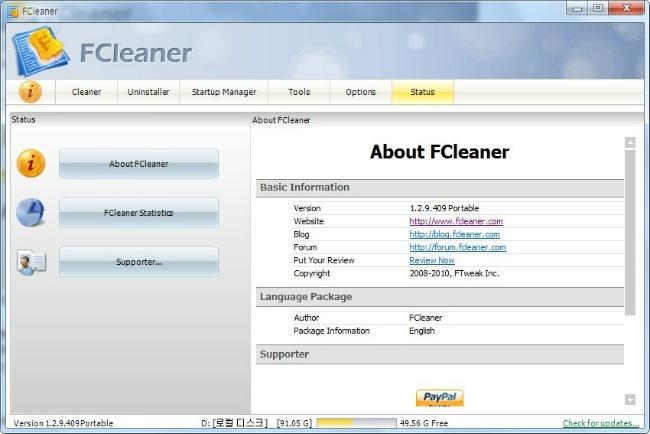 FClenaer Status