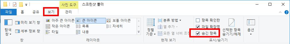 윈도우 10 숨겨진 폴더, 숨김 파일 보기 2가지 방법