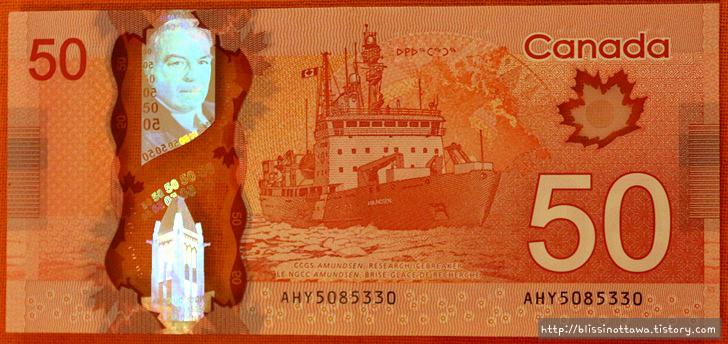 화폐로 알아보는 캐나다 역사 문화 50달러 지폐