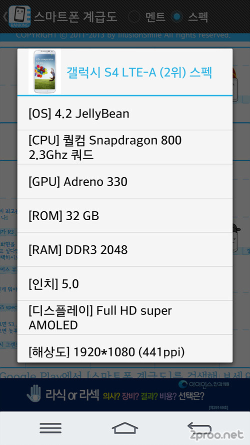 삼성 갤포아, 갤럭시S4 LTE-A 성능과 스펙, 사양