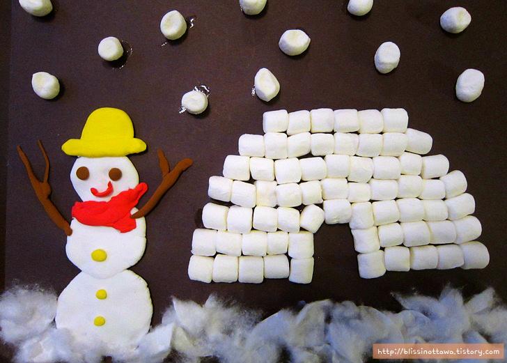 마시멜로 이글루 만들기 겨울 미술놀이