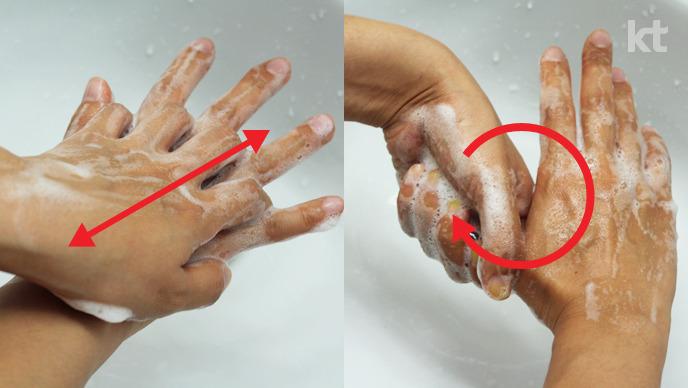올바른 손씻기 : 손등과 손바닥을 번갈아가면서 마주 비벼주고, 엄지손가락을 잡고 돌려가면서 씻는다
