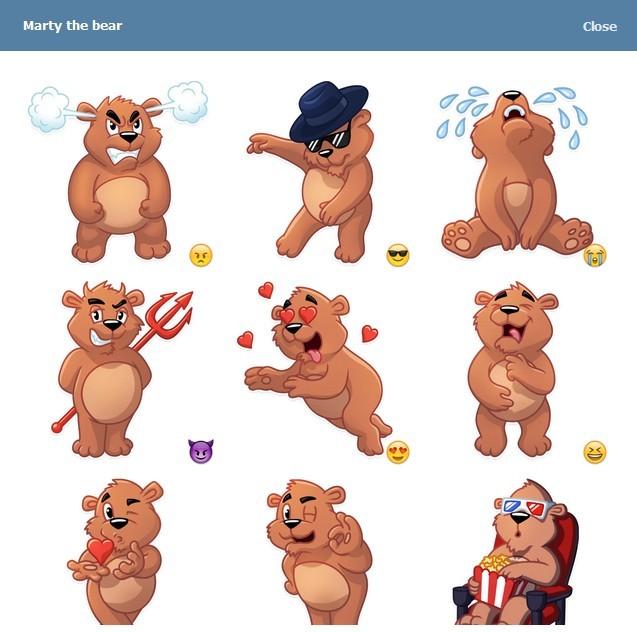 텔레그램 스티커 - Marty The Bear