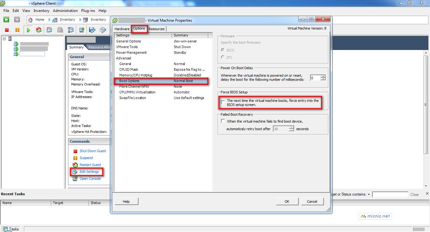 VMware ESXi Force BIOS Setup