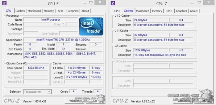 탭북2, CPU-Z