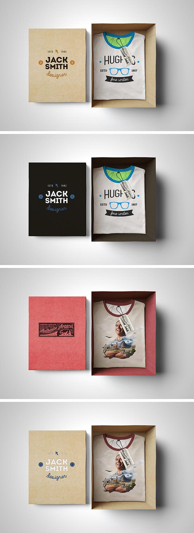 티셔츠 포장 박스 목업 PSD - Free PSD T-Shirt Box Mockup