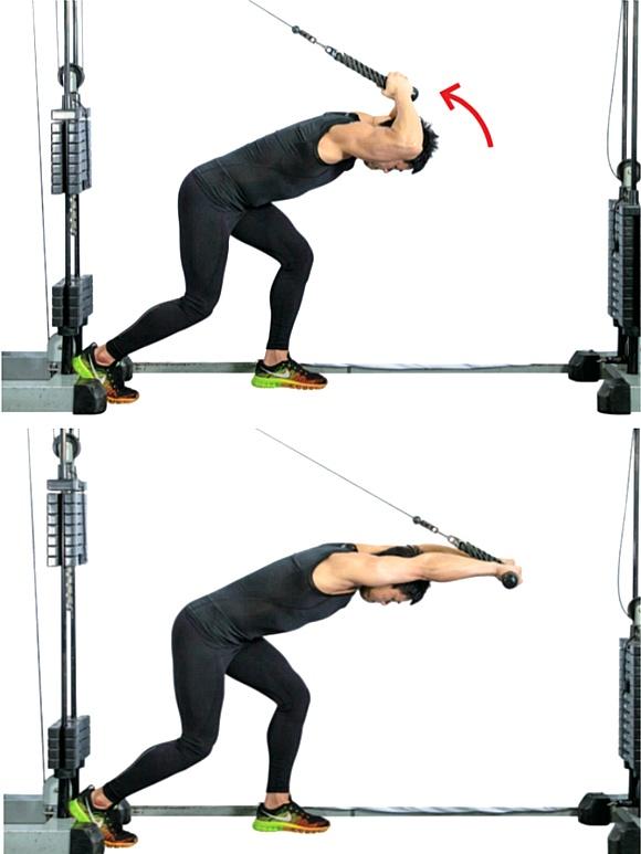 헬스클럽 운동법, 케이블을 이용한 삼두근 운동 2가지