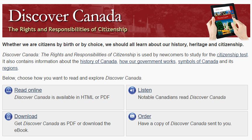 <CIC에서 제공하는 캐나다 시민권 테스트 자료 출처:CIC>