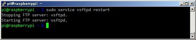 라즈베리파이 FTP서버 재시작