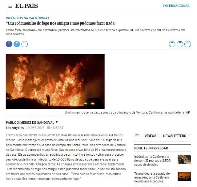 [포르투갈어] 캘리포니아 산불 사태 (2017년 12월)