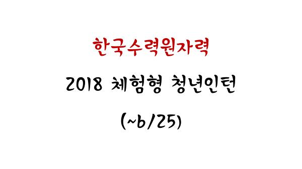 (한국수력원자력) 2018 상반기 체험형 인턴 채용 (~6/25)