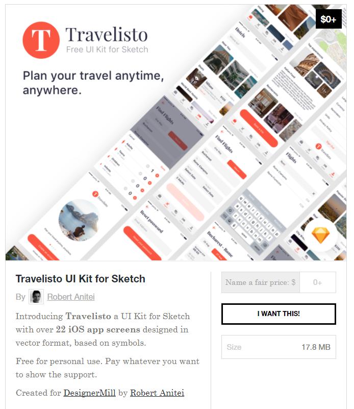 무료 여행관련 Travel Ui Kit Sketchapp