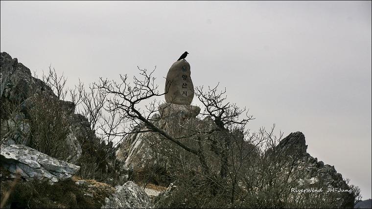 천성산 제2봉 비로봉 정상석 까마귀