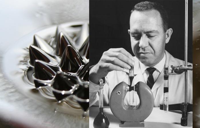 사진: 자성유체를 발명한 과학자 파펠이 실험을 하고 있는 모습. 자성유체의 성질을 이용할 수 있는 것은 그의 아이디어에 의해서였다. [아폴로 계획, 나사의 자성유체 발명]