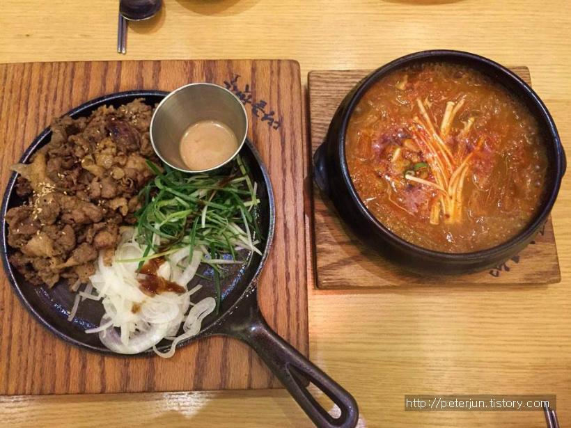 김치찌개와 숯불 불고기